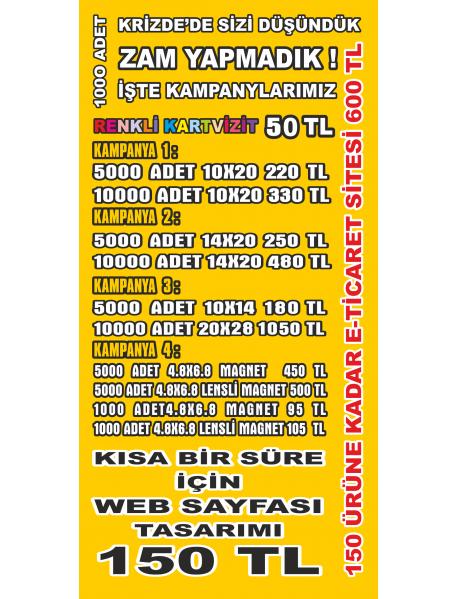 2000 Adet 10X20 A7 Broşür